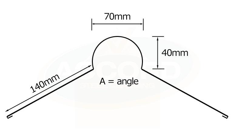 Plastisol Roll Top Ridge Flashing Accord Steel Cladding